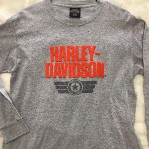 Harley Davison Grey Long Sleeve T-shirt